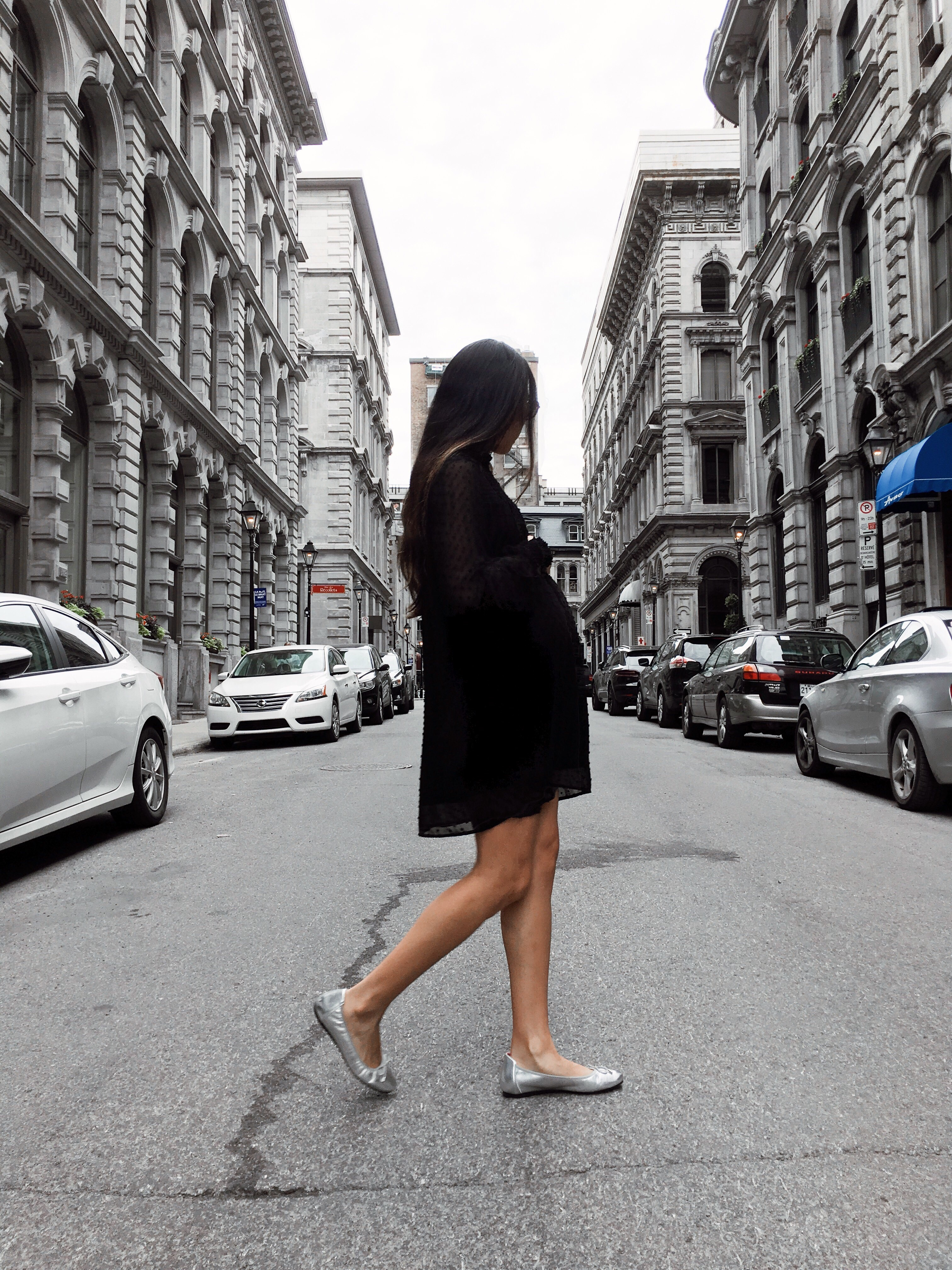 Black dress and silver ballerinas for a gloomy summer
